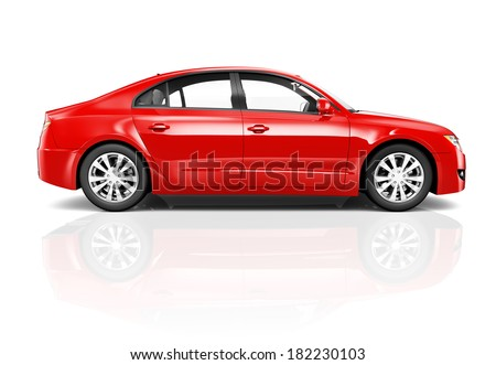 3D Red Sedan Car - stock photo