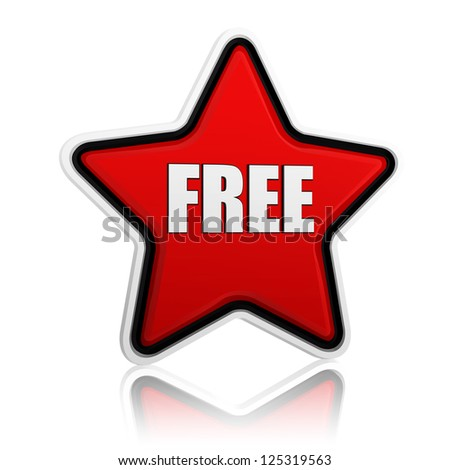 3d red star banner with text free like button, business concept - stock photo