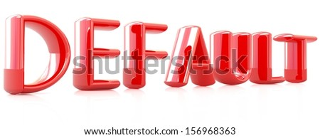 "3d red text ""default"" on a white background - stock photo"