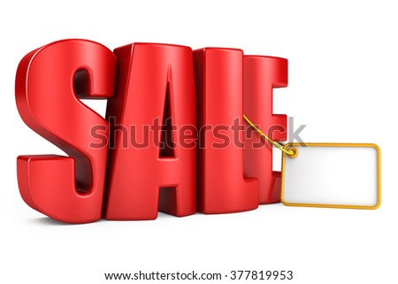 3d red text SALE, isolated over white background - stock photo