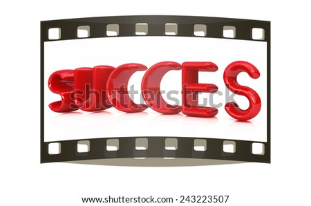 "3d red text ""succes"" on a white background. The film strip - stock photo"