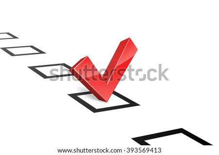 3D red vote tick concept illustration. - stock photo
