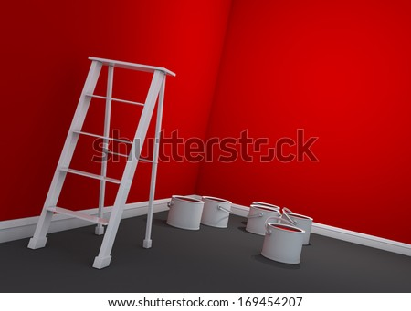 3d red wall painting, ladder, paint cans - stock photo