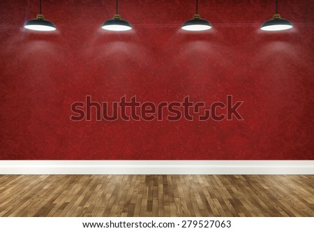 3d red wallpaper  room with ceiling lamp - stock photo