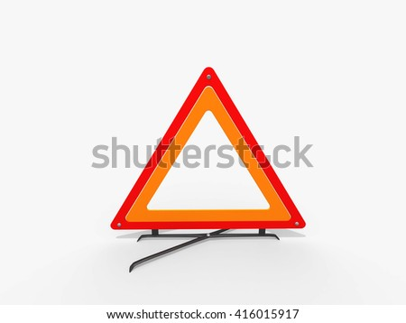 3D Red warning triangle. Caution Warning triangle. Attention sign. Road sign in High Resolution isolated on white. - stock photo