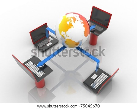 3d redered data tranfering concept - stock photo