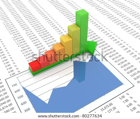 3d reflective progress bars on green arrow on the background of spreadsheet - stock photo