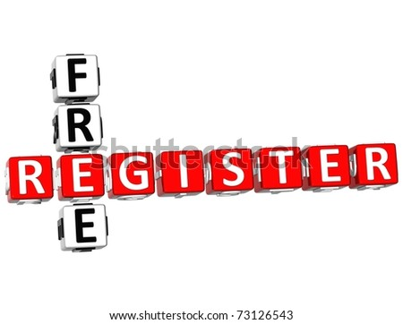 3D Register Free Crossword on white background - stock photo