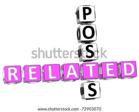3D Related Posts Crossword on white background - stock photo