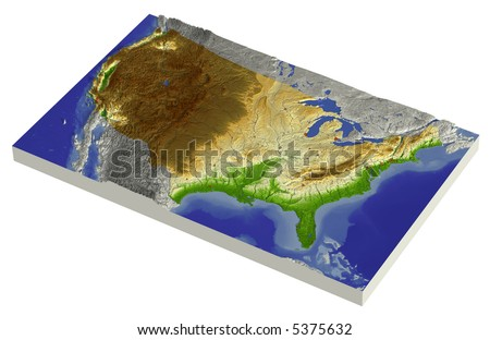 3D relief map of conterminous USA, line of sight towards north-west.  Shows major cities and rivers, surrounding territory greyed out. - stock photo