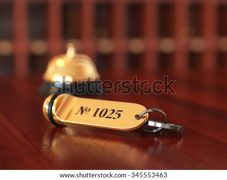 3d rende of hotel room key with golden lable room number on the wooden table. Soft focus illustration - stock photo