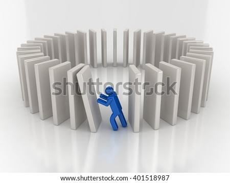 3D Render | A Wrong Decision | Domino Effect - stock photo
