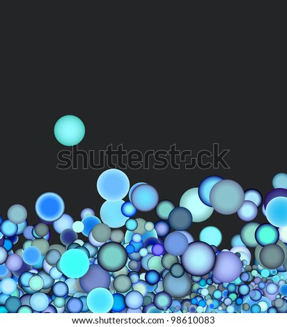 3d render abstract blue purple bubble on gray backdrop - stock photo