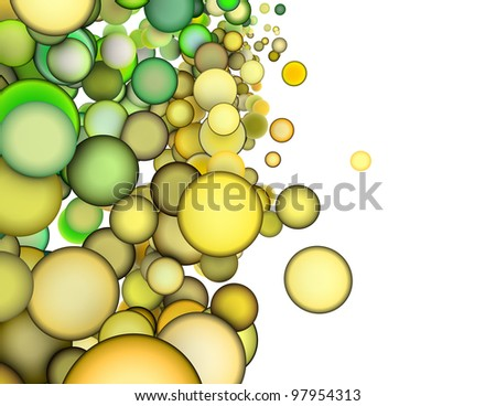3d render abstract multiple green yellow bubble backdrop - stock photo