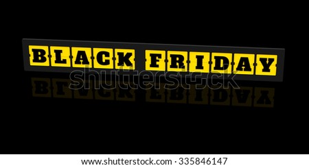 3D Render: Black friday sale, the letters on the board isolate on black background - stock photo