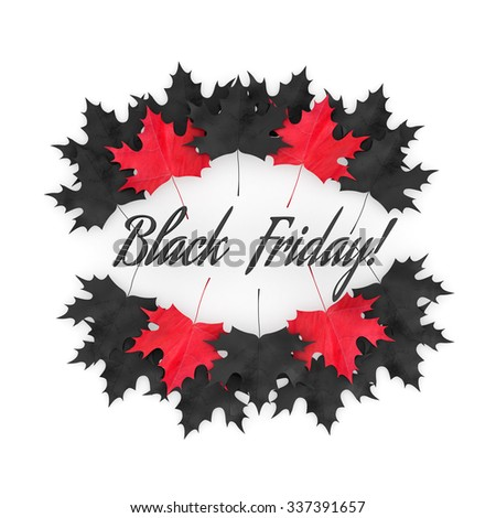 3D Render: Black Friday sale with red and black autumn leaves, banner, illustration on white background - stock photo