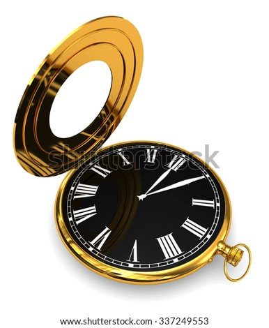 3D Render: Black pocket watch isolated on a white background - stock photo