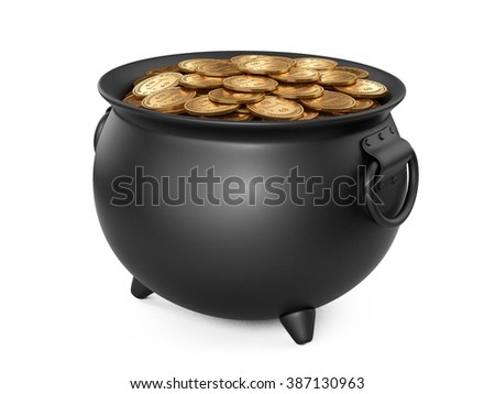 3d render black pot of gold. cauldron full of coins isolated on white background. - stock photo