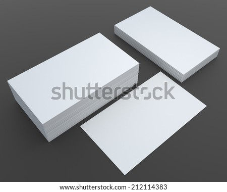 3D render blank business card vertical and horizontal in isolated background with work paths, clipping paths included - stock photo