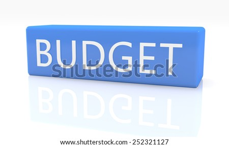3d render blue box with text Budget on it on white background with reflection - stock photo