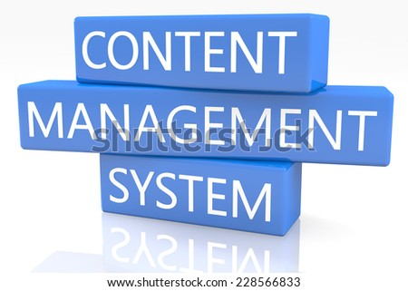 3d render blue box with text Content Management System on it on white background with reflection - stock photo