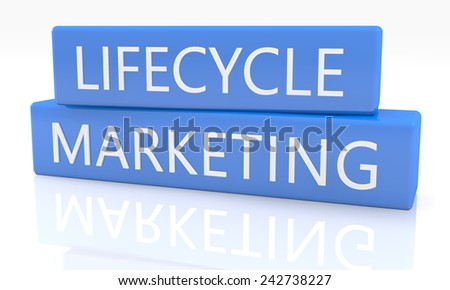 3d render blue box with text Lifecycle Marketing on it on white background with reflection - stock photo