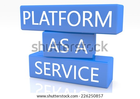 3d render blue box with text Platform as a Service on it on white background with reflection - stock photo