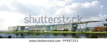 3d render building landscape - stock photo