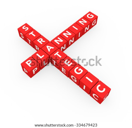 3d render business concept Strategic Planning with sixteen crossword red cubes on a white background.  - stock photo