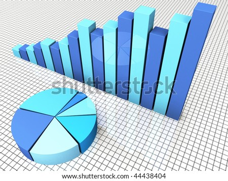 3d Render Business Graph Bar And Pie Chart - stock photo