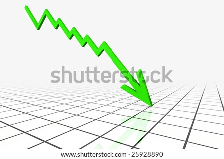 3D Render Business Graph With Downward Arrow - stock photo