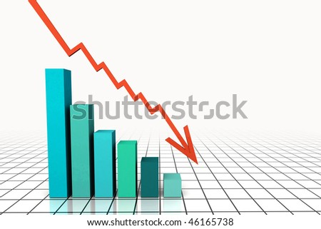 3d Render Business Graph With Going Up Arrow - stock photo