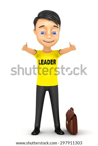 3d render businessman showing thumbs up isolated on white background - stock photo