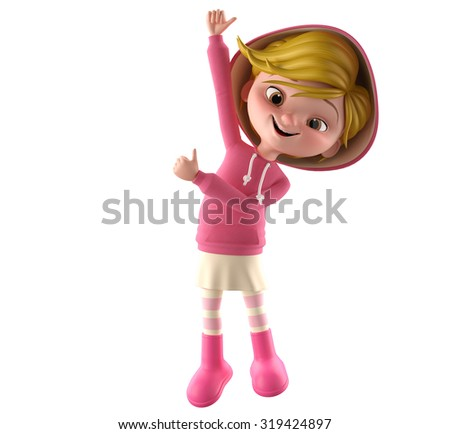 3d render character, beautiful cheerful girl showing thumbs up, isolated on a white background, simple icon, a teenager in a pink sweater, blank space for text, trendy girl listening to music - stock photo