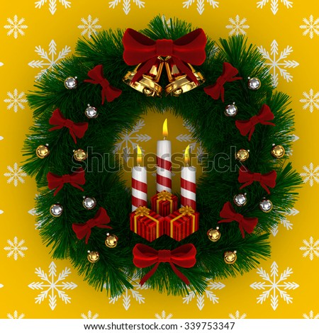 3D Render: Christmas wreath with red bow, Burning candles, jingle bells and gifts isolated on yellow snow background - stock photo