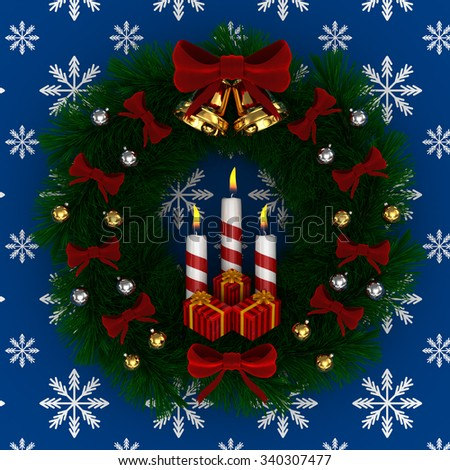 3D Render: Christmas wreath with red bow, Burning candles, jingle bells and gifts isolated on blue-snow background - stock photo