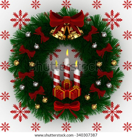 3D Render: Christmas wreath with red bow, Burning candles, jingle bells and gifts isolated on white, white red snow background - stock photo