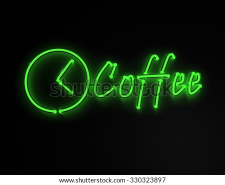3d render coffee bar green neon sign isolated on black background. - stock photo