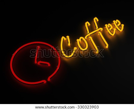 3d render coffee bar neon sign isolated on black background. - stock photo