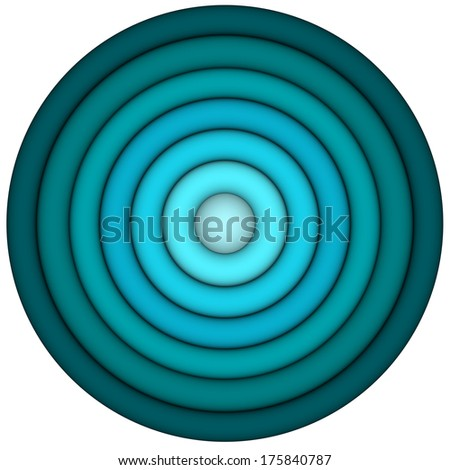 3d render concentric pipes in multiple blue - stock photo