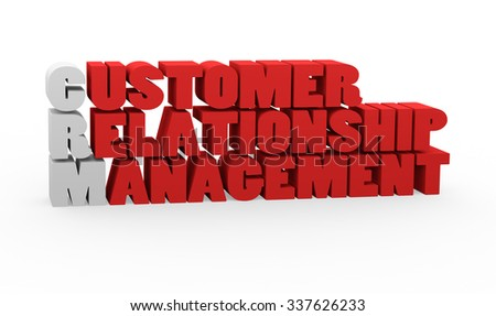 3d render concept CRM Customer Relationship Management with red letters on a white background.  - stock photo