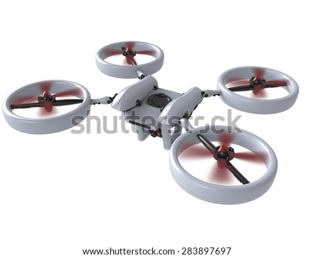 3d render concept design of Remote air drone  with clipping path  - stock photo
