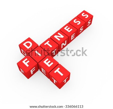 3d render concept Fitness Diet with ten red crossword cubes on a white background. - stock photo