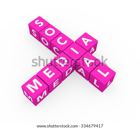 3d render concept Social Media with ten crossword pink cubes on a white background.  - stock photo