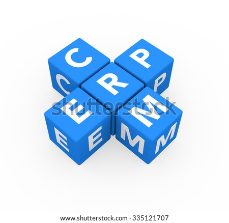 3d render concepts ERP Enterprise Resource Planning and CRM Customer Relationship Management with blue cubes on a white background.  - stock photo