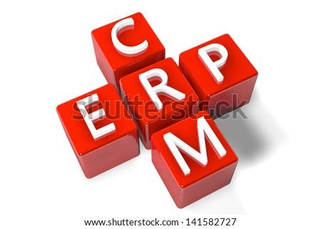 3D Render Crossword concept: Enterprise Resource Planning (ERP) and Customer Relationship Management (CRM) - stock photo