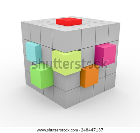 3d render cube construction with grey blocks and several blocks with other colors on a white background.  - stock photo