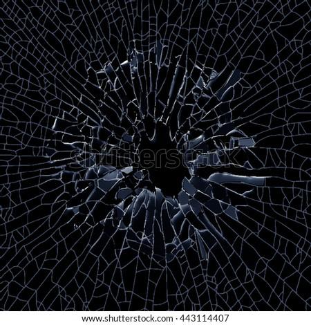 3d render, 3d illustration, explosion, broken glass , bullet hole, destruction, abstract cracked glass background - stock photo
