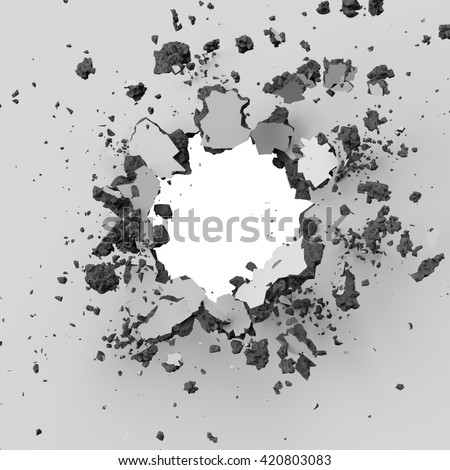 3d render, 3d illustration, explosion, concrete wall, bullet hole, destruction, abstract background - stock photo