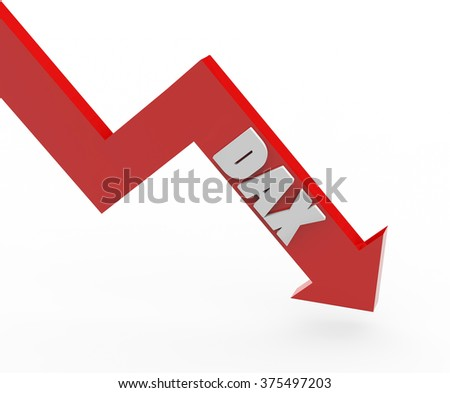 3d render DAX stock market index in a red arrow on a white background.  - stock photo